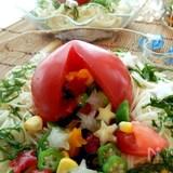 夏野菜の星屑が詰まった丸ごとトマトの素麺