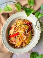 豚肉と彩り野菜のピリ辛味噌焼き