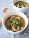豆腐とひき肉の黒ごま味噌スープ