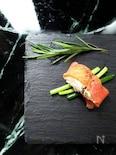 スモークサーモンとネギの前菜