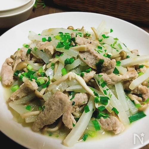 味付け簡単♪豚もも肉と大根の中華炒め