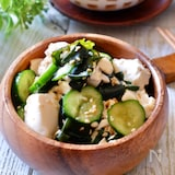 簡単副菜☆『豆腐とわかめときゅうりの和風サラダ』