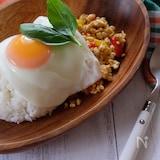お豆腐で作るガパオライス‼️