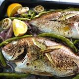 切って並べてオーブンへ。白身魚のグリル。
