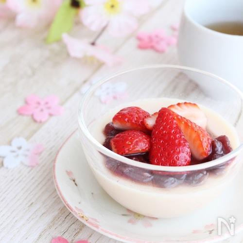 調理時間5分!桜餅風豆乳プリン