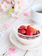 【調理時間5分】桜餅風の味が楽しめる!豆乳プリン