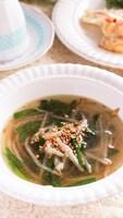 シャキッと美味しい♡もやしとにらの旨味たっぷり中華スープ