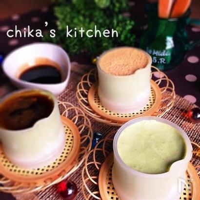 火を使わずに作れる、抹茶ミルクのお豆腐ムース