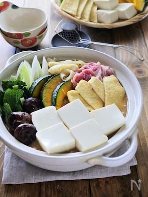 お揚げとお豆腐たっぷりほうとう鍋