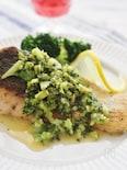 生秋鮭のソテー、ブロッコリーソース