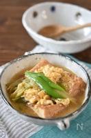 厚揚げ豆腐と長ネギの簡単卵とじ【アレンジ】
