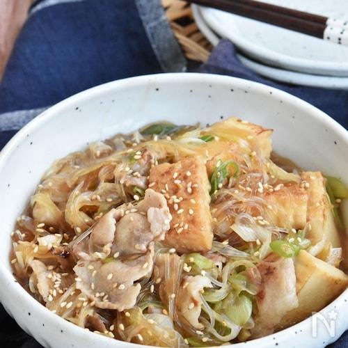 厚揚げ豆腐と春雨のコクうま煮込み