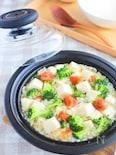 ブロッコリーと豆腐のレンジ梅雑炊