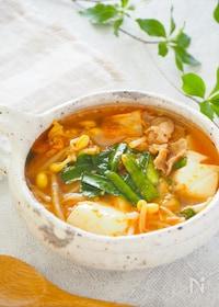 『夏こそ食べたい!旨辛☆豚肉ともやしと豆腐のキムチスープ』