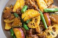 根菜と豚こまの甘辛炒め