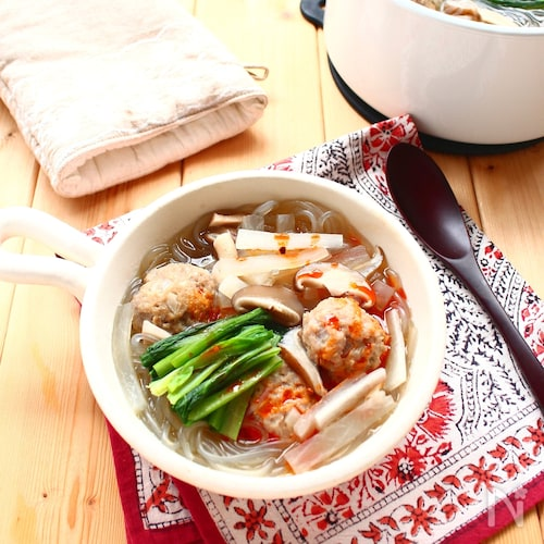 あらびき肉団子と韓国春雨の「食べるスープ」