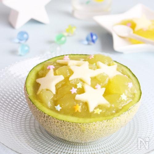 七夕にも☆調理時間10分!生メロンのクラッシュ寒天ゼリー