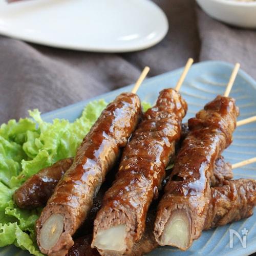 焼き肉のたれで簡単甘辛に♪野菜もしっかり!ロールビーフ串