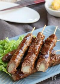 『焼き肉のたれで簡単甘辛に♪野菜もしっかり!ロールビーフ串』