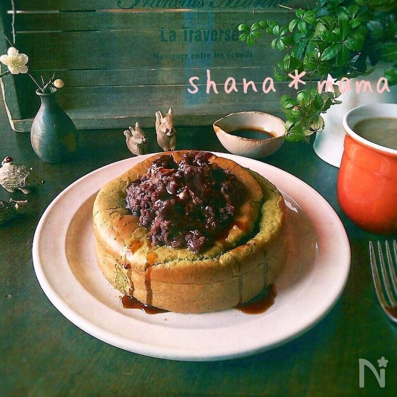 4. 抹茶のスフレパンケーキ