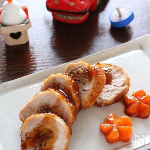 きんぴらごぼうの鶏肉巻き。