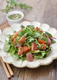 『パクチードレッシングの海鮮サラダ』