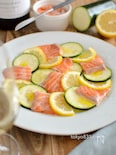 サーモンとズッキーニとレモンのカルパッチョ。爽やかな前菜!