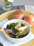 豚と筍とワラビとわかめの春旬和風コンソメスープ