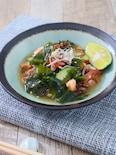 もずく酢を使って簡単に!夏野菜とわかめの酢の物