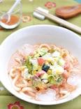 トマトとズッキーニのガスパチョ冷スープうどん