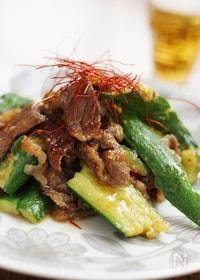 『牛肉とたたききゅうりの中華炒め』