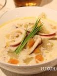 イカとたっぷり野菜の味噌クリームスープ