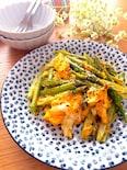 簡単な作り方♡アスパラとふわふわ卵のマヨ粒マスタード炒め