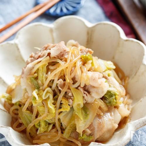 白菜と豚肉のすき焼き風♡甘辛炒め煮【#作り置き #包丁不要】