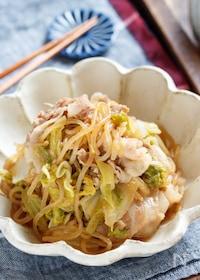 『白菜と豚肉のすき焼き風♡甘辛炒め煮【#作り置き #包丁不要】』