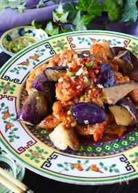 『【ご飯がススム】とろとろ茄子と豚こまのピリ辛にんにく中華炒め』