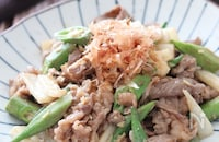 おかかたっぷり♡牛こまと長芋とオクラのネバネバ味噌炒め