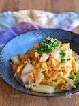 白菜と豚バラの旨味噌炒めの卵とじ