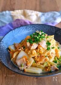 『白菜と豚バラの旨味噌炒めの卵とじ』