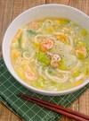 *むき海老と白菜の旨塩かき卵うどん*