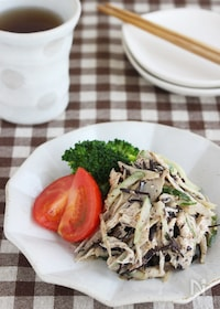 『美腸にも!食物繊維たっぷり~!ごぼうとひじきのごまマヨサラダ』