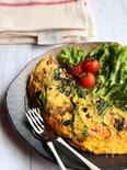 嬉しい低糖質*ほうれん草とハムと舞茸のチーズオムレツ