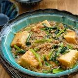*ひき肉と小松菜とえのきと絹厚揚げのとろみ煮*