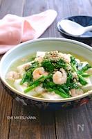 絹ごし豆腐の海老と菜の花のそぼろあん