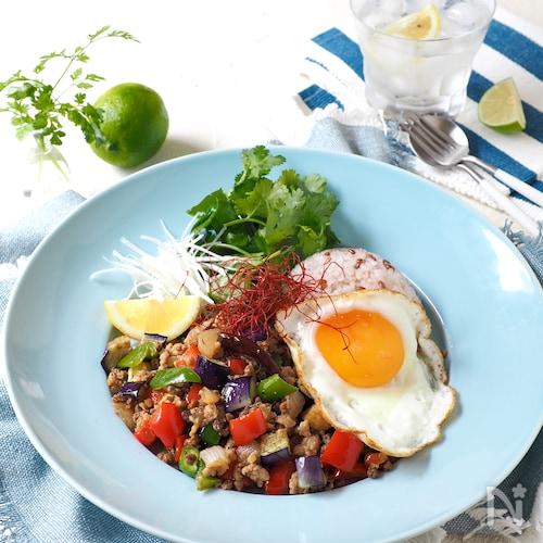 たっぷり野菜のヘルシー・ガパオライス【大豆ミート入り】