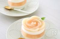 火を使わずレンジで【簡単】桃香る♡ピーチゼリー&レアチーズ