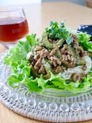 四川風*ゴーヤの肉味噌あん素麺