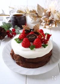 『材料たった2つ!ほろ溶けチョコケーキ〜クリスマスバージョン』