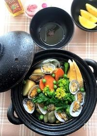 『土鍋で作る!春野菜とあさりの白ワイン蒸し』