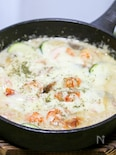 スキレットで海老とズッキーニのクリーム煮